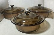 Vtg Visions Corning Wear Ribbed Corning Ware Pyrex Covered Casseroles And Lids 6pc