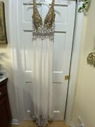 Sherri Hill Couture Gold White Cream Jersey Gown Pageant Deep V Sz 4