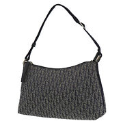 Christian Dior Trotter Hand Pouch Bag Navy Canvas Italy Authentic Yy346 O