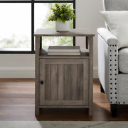 Grey Wash Modern End Table With Open Shelf And 1-door