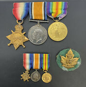 Ww1 Original 18th Infantry Canada Medal Group Complete Silver Rare