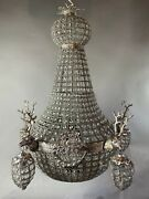 Xl French Roccoco Chandelier Decorated With Deerhead In Silver Frame
