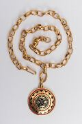 Gilted Metal Chain Necklace With Cc Pendant