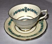 Aynsley Cambridge 7818 Turquoise Scalloped Rim Cup And Saucer Set