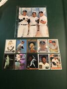 Mickey Mantle 10 Card Lot, 2 Glossy Photos, And Wall Placard