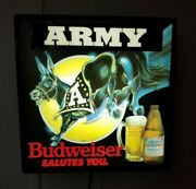 Vintage 80and039s Budweiser Army Fluorescent Light Bud Beer Bar Pub Sign Rare Works