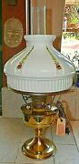 Brass Electrified Aladdin Oil Lamp W/white Shade And Pink/white Flowers Nos Vtg.