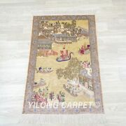 Yilong 2and039x3and039 Handwoven Silk Carpet High Density Indoor Tapestry Rug 054h