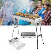 Stainless Steel Bbq Grill Portable Folding Grill Stove Home/ Outdoor 2-4 Person
