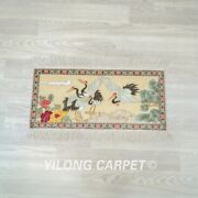 Yilong 2and039x1and039 Antique Handknotted Silk Carpets Home Decor Tapestry 048h