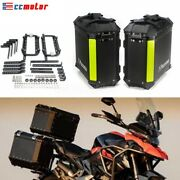Black Aluminum 36l 2x Side Boxes Motorcycle Side Cases Luggage Pannier Cargo