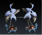Pair 14and039and039 Classical Art Bronze Statue Furniture Fortune Dragon Turtle Crane