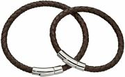 Little Star Mens Daddy And Me Leather Bracelet Set - Brown/silver