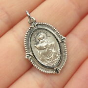 925 Sterling Silver Antique St. Christopher Religious Pendant