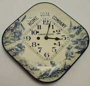Antique Working 1920 Home Coal Company Mechanical Wind-up Advertising Wall Clock