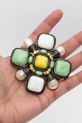 Colorful Cross-shaped Brooch With Gripoix Glass Paste