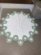 Lace Doily Green And White Crochet Vintage 34 Inches Country Cottage Farm House