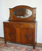 English Oak Sideboard/buffet With Oval Beveled Mirror Ca. 1920 Good Condition
