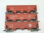 Lot Of 3 Open 3 Bay Hopper Cars Atsf Sp Nyc N Scale 4 Shipping