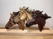 3 Horse Heads Intricate Details Wall Plaque Decorative Country Decor 3d Effect
