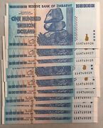 10 Consecutive 100 Trillion Dollars Banknotes Reserve Bank Of Zimbabwe