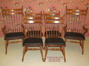 Tell City Set Of 6 Tall Ladderback Spindle Slip Seat Chairs Andover Maple 8038