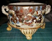 Antique 19th Century Japanese Satsuma Planter W/ Out Turned Legs