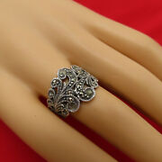 Vintage Sterling Silver Band Ring Marcasites Size 7 Wide Art Deco Jewelry 727r