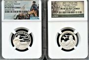2021 S Silver 99.9 2pc Quarter Set Fr Ngc Pf70 Uc Park---- In Stock