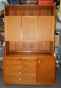 Drexel Leisure Walnut Mid Century China Closet Cabinet Hutch Buffet Server Cane