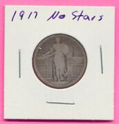 1917 Type 1 No Stars Silver Liberty Standing Quarter 25 Cents Us Coin
