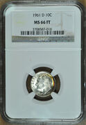 1961-d Roosevelt Dime, Silver, Ngc Ms-66 Full Torch/bands/ft/fb