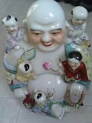 Large Vintage Antique Chinese Porcelain Happy Laughing Buddha With 5 Kids,read D