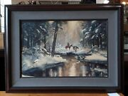 Hunting The Beaver Trail By Miltom Lewis - Original Watercolor