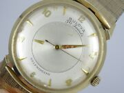 Vintage 50and039s Bulova Mystery Dial Solid 14k Gold Case 30j Automatic Watch Working