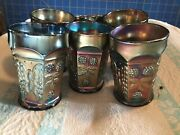 Set Of 6 Antique Fenton Butterfly And Berry Blue Carnival Art Glass Tumbler 4