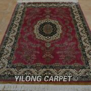 Yilong 4and039x6and039 Handmade Silk Area Rugs Pink Romantic Oriental Home Carpet 0698