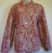 Coldwater Creek Petite Xl Plus Red Cream Lace Embroidery Lined Jacket Blazer