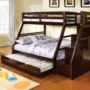 Wooden Twin Over Full Bunk Bed With Drawers And Staircase Brown