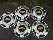 Vintage Oem Gm 1970and039s 1980and039s Set Of 5 Chevy Truck Dog Dish Hub Caps 10.5