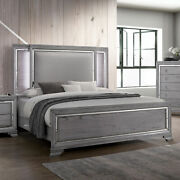 Classic Style Bedroom Cal King Size Bed W Led Padded Headboard Light Gray Wooden