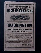 1851 Original Stagecoach Poster Ny Express Co Advertising Ogdensburgh Railroad