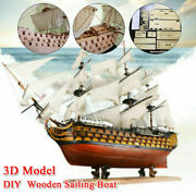Victory Diy Wooden Sailing Boat Assembly Model Kits Ship Home Office Decoration