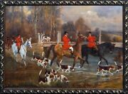 Large 19th Century English Fox Hunt And Hounds Hunting Landscape By Percy Gravely