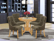 East West Furniture 5pc Dining Set Includes A Small Round Dinette Table And Four