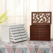 Multi-layer Wooden Jewelry Box Big 6 Layers Earrings Ring Display Casket Boxes
