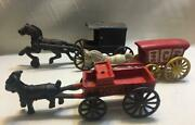 Vintage Lot Of 3 Cast Iron Horse And Buggy Wagon Toys