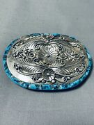 One Of Most Unique Vintage Navajo Side Inlay Turquoise Sterling Silver Buckle