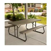 Lifetime All-weather Outdoor 6and039 Folding Picnic Table Seating For 8 Brown