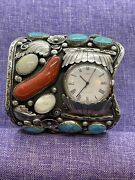 Angela Lee Native American Signed Sterling Silver -turquoise And Coral Watch Cuff